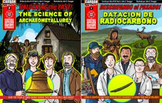 two comic book covers, side by side, English and Spanish language