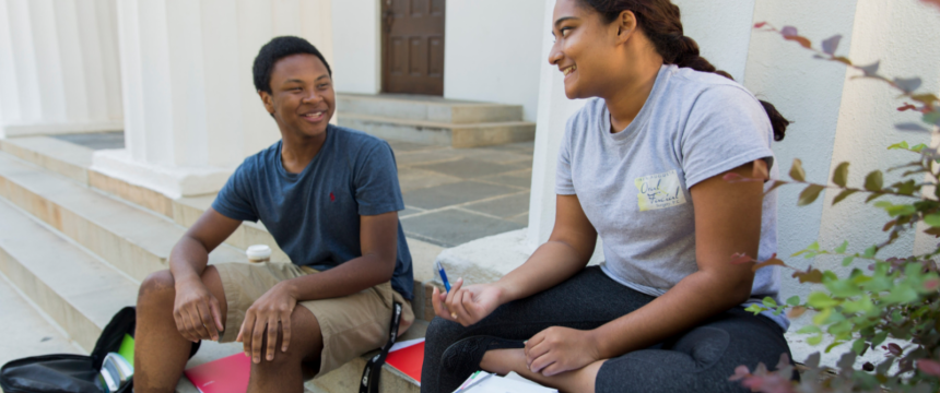 International affairs and arabic double major Jailen Gary, left, and social work and sociology major Reeya Hoosain both of Grovetown, Ga study together for an Arabic Test on the steps of the Chapel on a fall day.