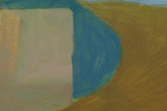 section of a painting with white, blue and tan abstract shapes