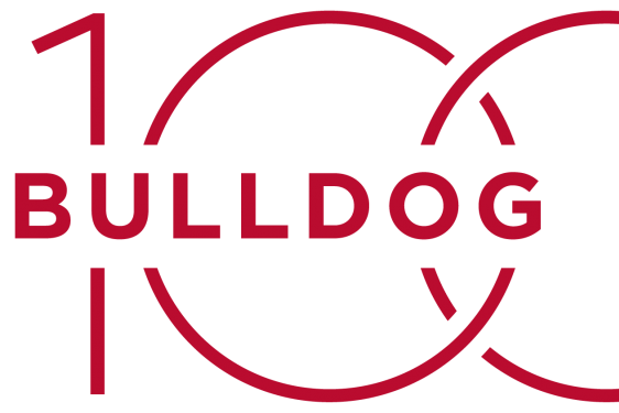 red logo on white background of Bulldog 100