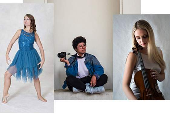 Collage of three photos - dancer, photographer, violinist