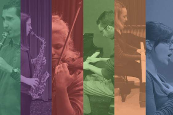 graphic with five musician performers