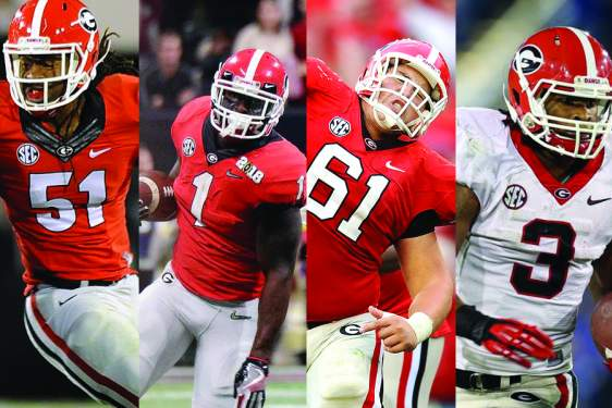 composite of four photos of UGA football players