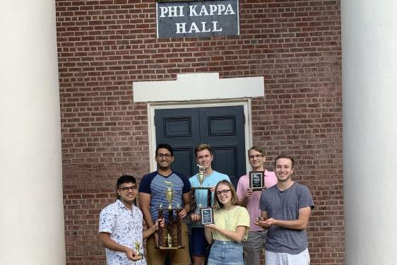 group photo of students at Phi Kappa hall