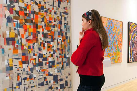 photo of woman studying abstract art