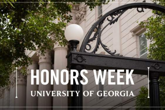 photo of arch with honors week graphic