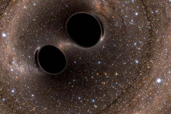 black holes in space, illustration