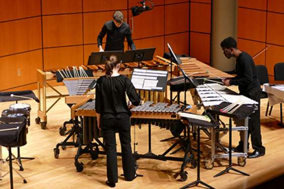 percussion ensemble on stage