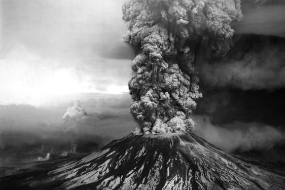 black and white photo of volcanic eruption