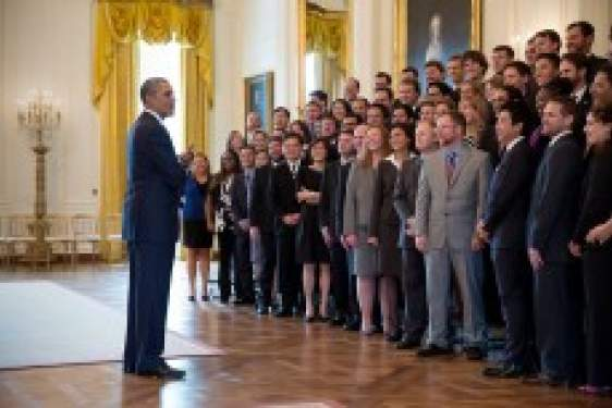 Obama with group
