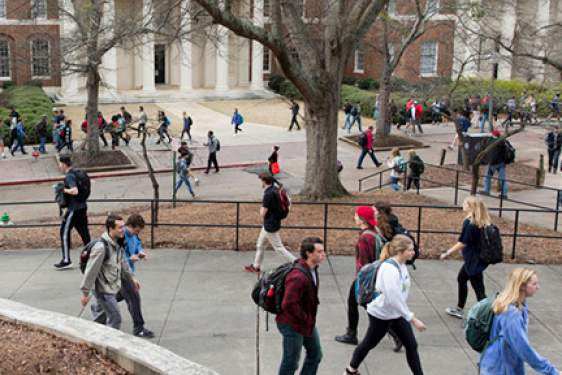 photo of students walking campus