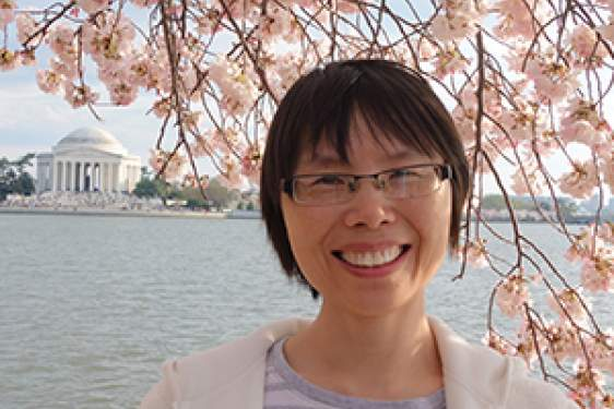 photo of woman with cherry blossom and Lincoln memorial in background