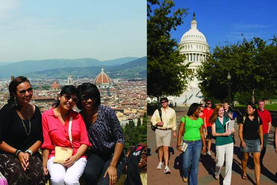 photo collage of Florence and Washington DC with students