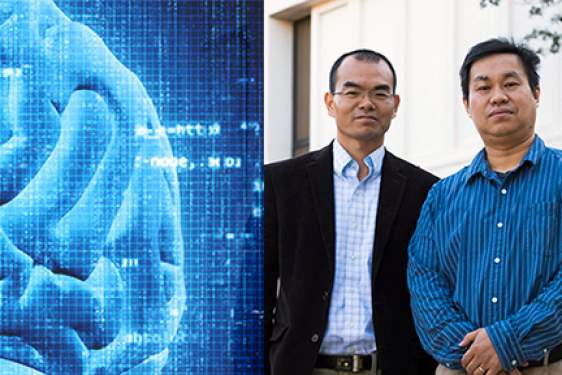 brain graphic, with photo of two men